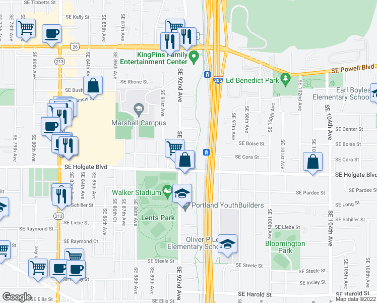 map of restaurants, bars, coffee shops, grocery stores, and more near 9225 Southeast Cora Street in Portland