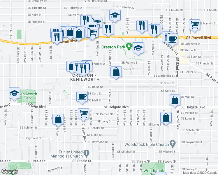map of restaurants, bars, coffee shops, grocery stores, and more near 4132 Southeast Boise Street in Portland