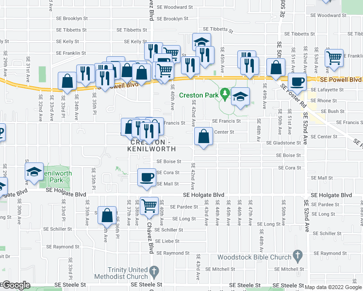 map of restaurants, bars, coffee shops, grocery stores, and more near 4045 Southeast Gladstone Street in Portland