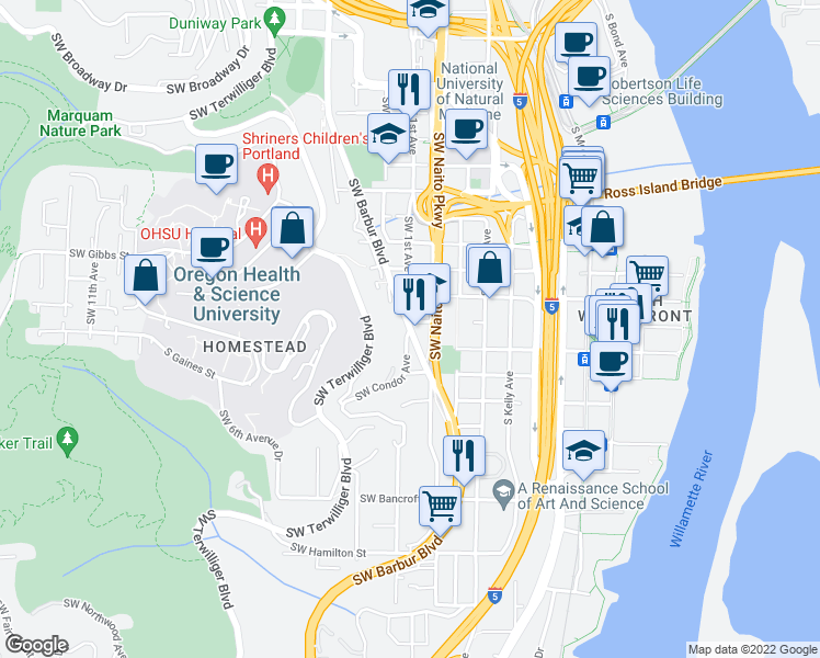 map of restaurants, bars, coffee shops, grocery stores, and more near SW Barbur Blvd & SW Condor Ave in Portland