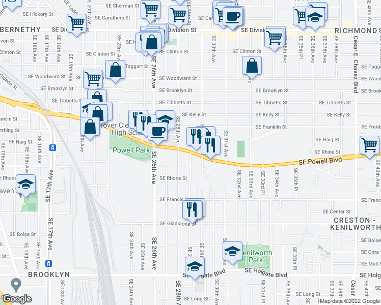 map of restaurants, bars, coffee shops, grocery stores, and more near SE 28th Pl in Portland