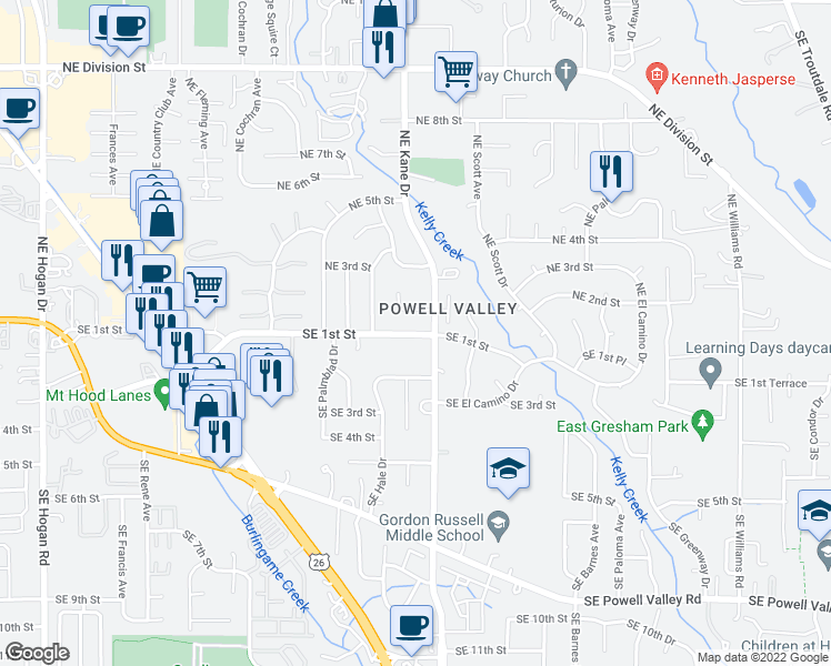 map of restaurants, bars, coffee shops, grocery stores, and more near 3204 NE 2nd Ct in Gresham