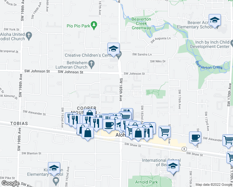 map of restaurants, bars, coffee shops, grocery stores, and more near 18607 SW Mapleoak Ln in Beaverton