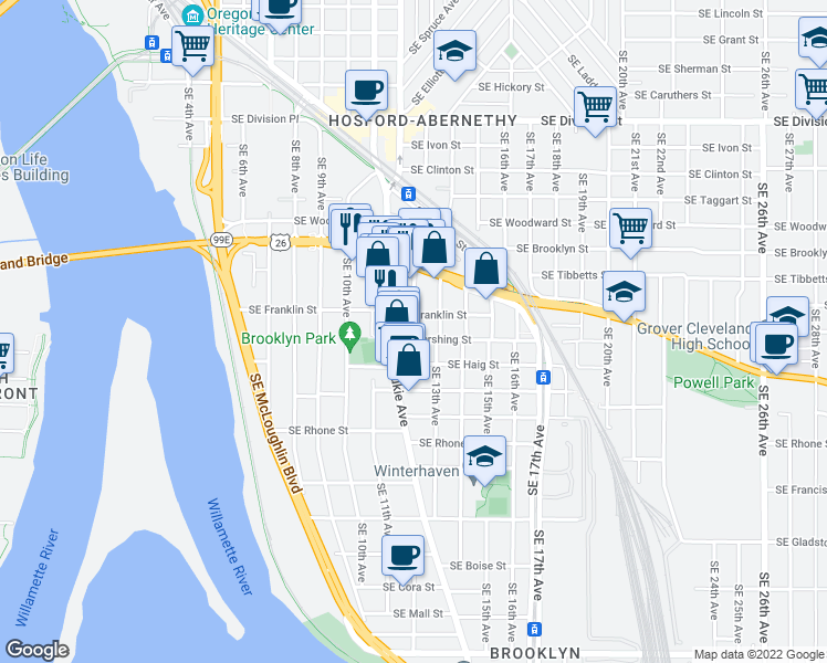 map of restaurants, bars, coffee shops, grocery stores, and more near 3329 SE 12th Ave in Portland