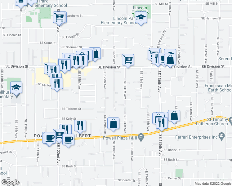 map of restaurants, bars, coffee shops, grocery stores, and more near Southeast 130th Avenue in Portland