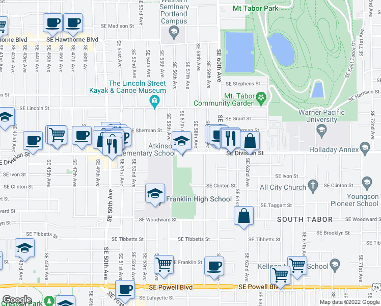 map of restaurants, bars, coffee shops, grocery stores, and more near 5725 Southeast Division Street in Portland