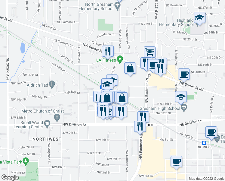 map of restaurants, bars, coffee shops, grocery stores, and more near 701-799 Northwest 15th Street in Gresham