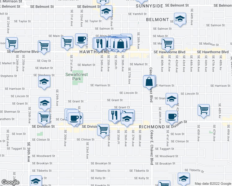 map of restaurants, bars, coffee shops, grocery stores, and more near Southeast Lincoln Street & Southeast 35th Place in Portland