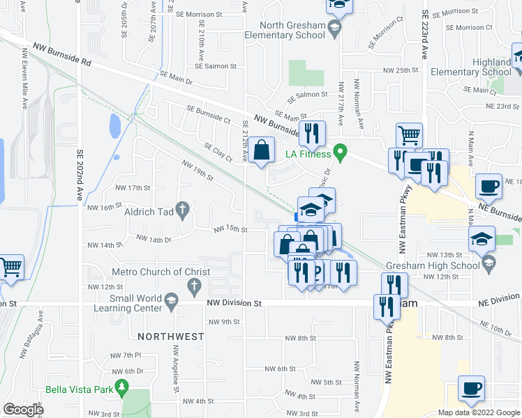 map of restaurants, bars, coffee shops, grocery stores, and more near 1107 NW 15th St in Gresham