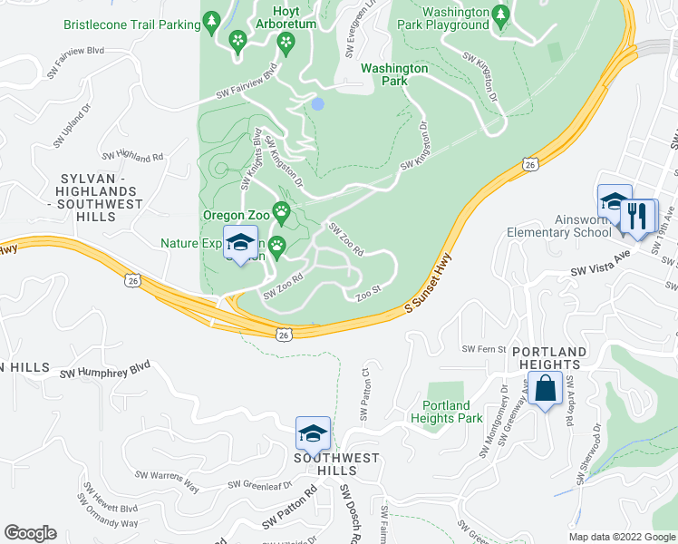 map of restaurants, bars, coffee shops, grocery stores, and more near 4001 Southwest Canyon Road in Portland