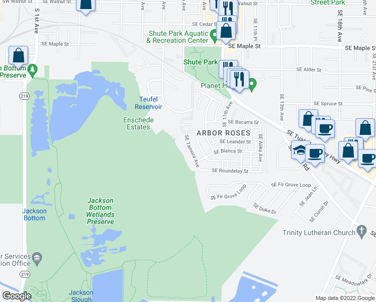 map of restaurants, bars, coffee shops, grocery stores, and more near 1091 Southeast Tamora Avenue in Hillsboro