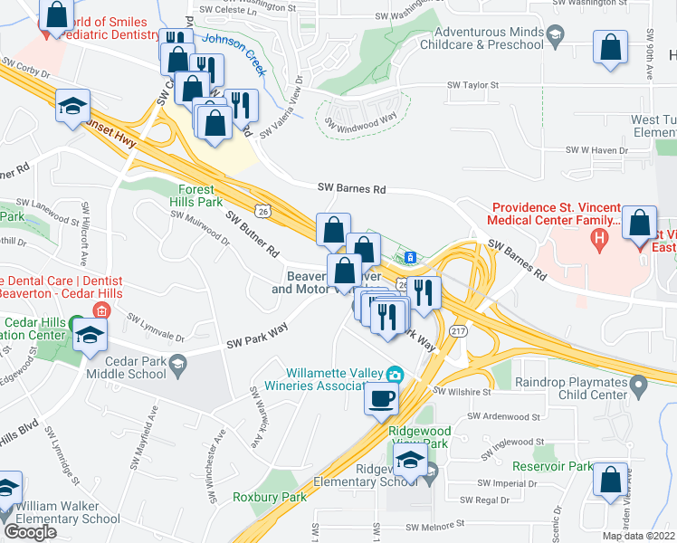 map of restaurants, bars, coffee shops, grocery stores, and more near 10320 NW Sunset Hwy in Portland