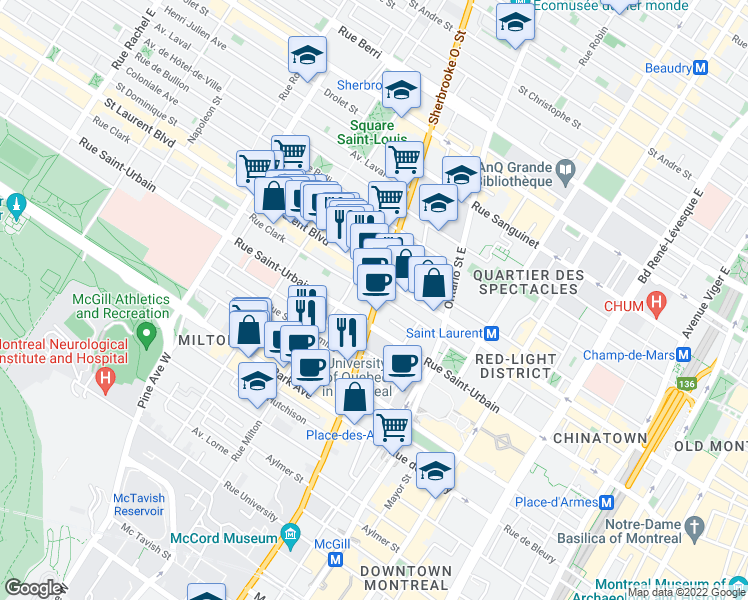map of restaurants, bars, coffee shops, grocery stores, and more near 51 Sherbrooke St W in Montreal