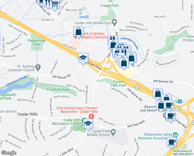 map of restaurants, bars, coffee shops, grocery stores, and more near SW Cedar Hills Blvd & SW Butner Rd in Beaverton