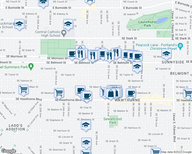 map of restaurants, bars, coffee shops, grocery stores, and more near 2923 Southeast Salmon Street in Portland