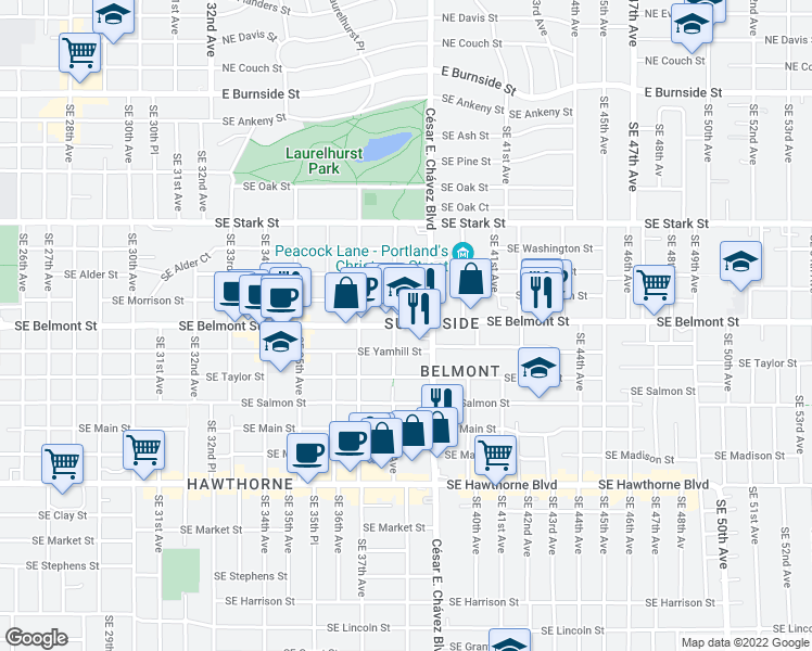 map of restaurants, bars, coffee shops, grocery stores, and more near 3835 SE Yamhill St in Portland