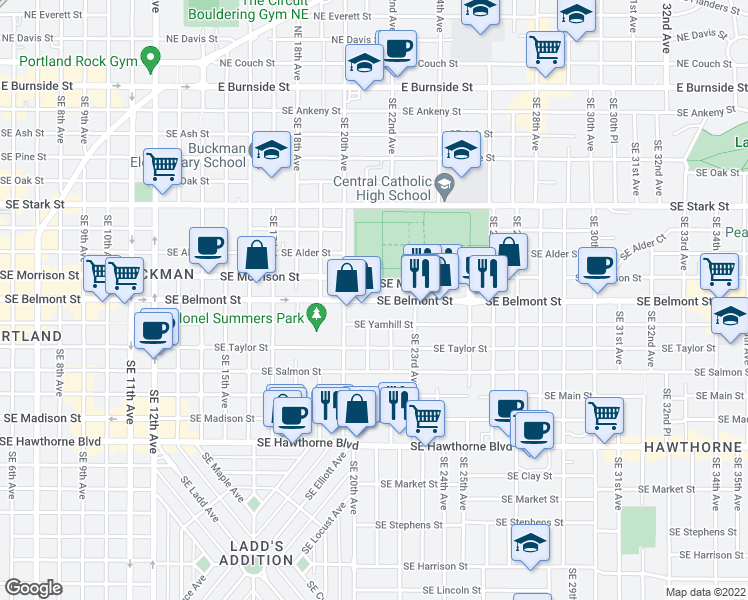 map of restaurants, bars, coffee shops, grocery stores, and more near 2045 Southeast Yamhill Street in Portland