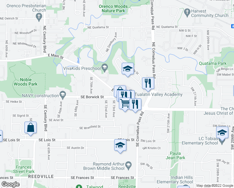 map of restaurants, bars, coffee shops, grocery stores, and more near 473 Southeast 73rd Avenue in Hillsboro