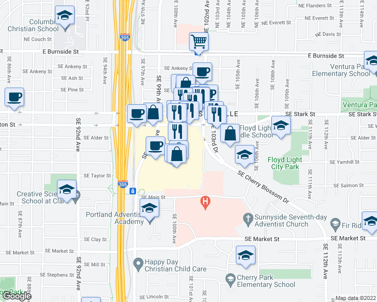 map of restaurants, bars, coffee shops, grocery stores, and more near 12 in Portland