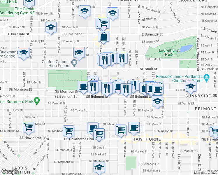 map of restaurants, bars, coffee shops, grocery stores, and more near 715 Southeast 29th Avenue in Portland
