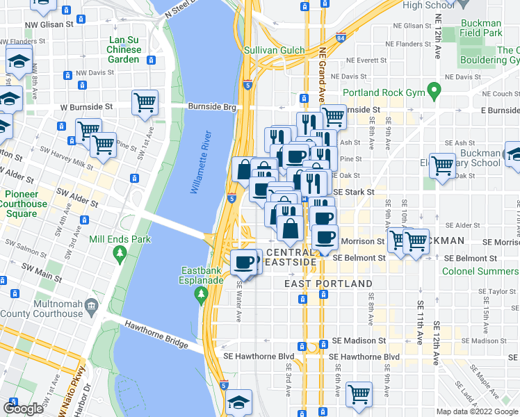 map of restaurants, bars, coffee shops, grocery stores, and more near 100 SE Washington St in Portland