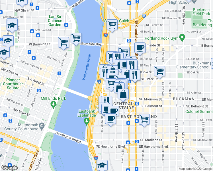 map of restaurants, bars, coffee shops, grocery stores, and more near 70 Southeast Washington Street in Portland