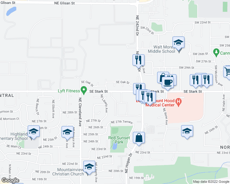 map of restaurants, bars, coffee shops, grocery stores, and more near 23900 SE Stark St in Gresham