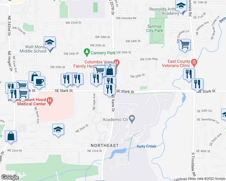 map of restaurants, bars, coffee shops, grocery stores, and more near SE Stark St & SW 257th Ave & NE Kane Dr in Gresham