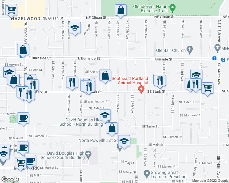 map of restaurants, bars, coffee shops, grocery stores, and more near 13401 Southeast Stark Street in Portland