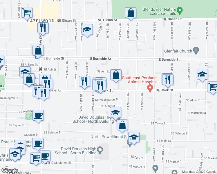 map of restaurants, bars, coffee shops, grocery stores, and more near 5th Street in Portland