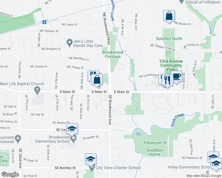 map of restaurants, bars, coffee shops, grocery stores, and more near 105 Northeast Brookwood Parkway in Hillsboro