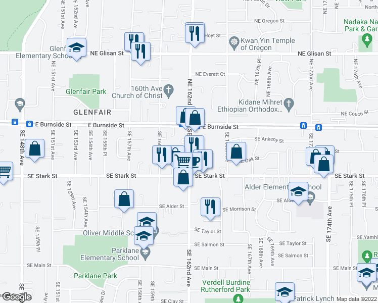 map of restaurants, bars, coffee shops, grocery stores, and more near 306 SE 162nd Ave in Portland