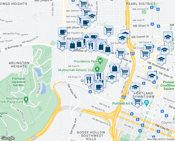 map of restaurants, bars, coffee shops, grocery stores, and more near Southwest Salmon Street & Southwest 21st Avenue in Portland