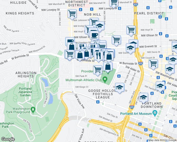 map of restaurants, bars, coffee shops, grocery stores, and more near 809-899 SW King Ave in Portland