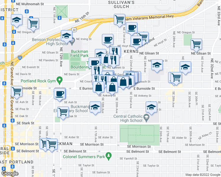 map of restaurants, bars, coffee shops, grocery stores, and more near East Burnside Street & Southeast 19th Avenue in Portland