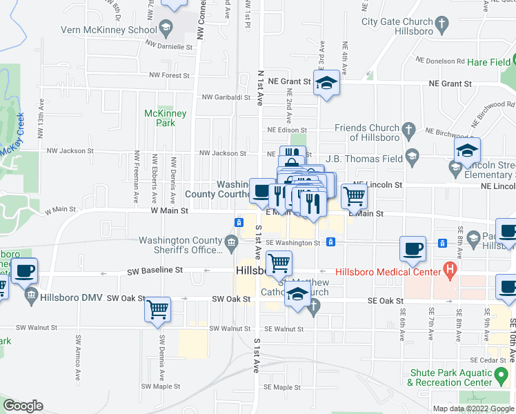 map of restaurants, bars, coffee shops, grocery stores, and more near in Hillsboro