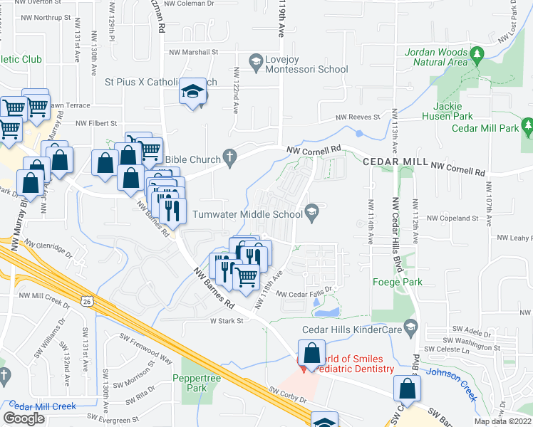 map of restaurants, bars, coffee shops, grocery stores, and more near 620 Northwest Lost Springs Terrace in Portland