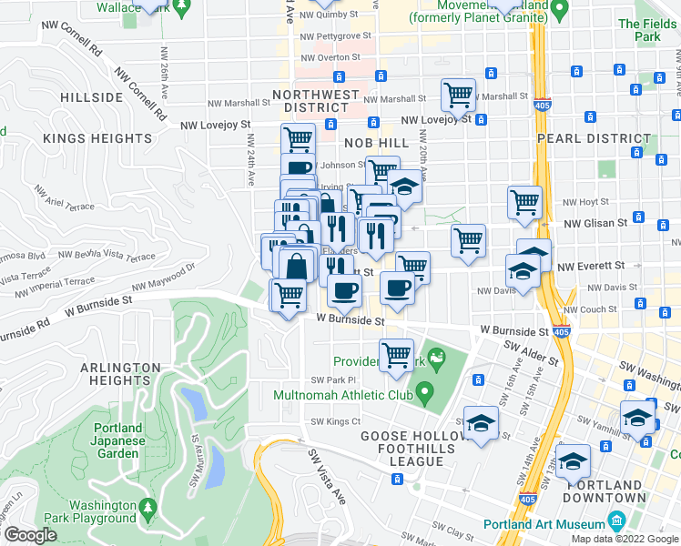 map of restaurants, bars, coffee shops, grocery stores, and more near Northwest Everett Street & Northwest 22nd Avenue in Portland