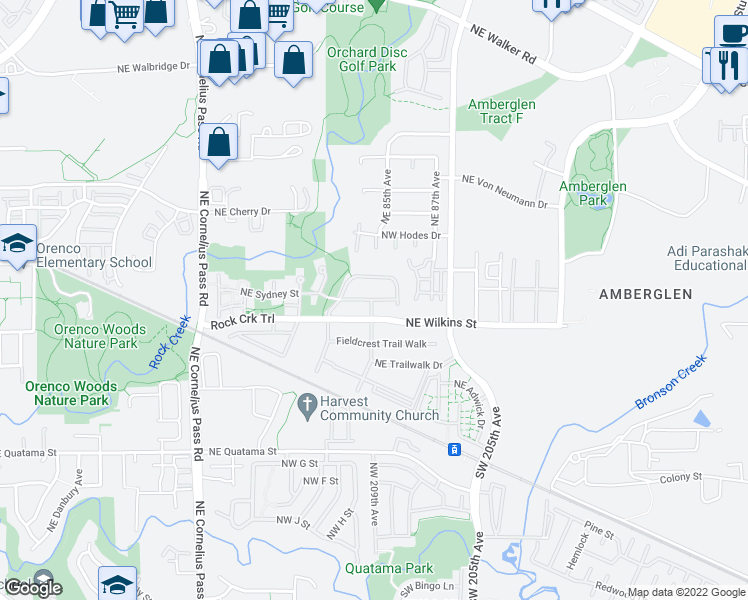 map of restaurants, bars, coffee shops, grocery stores, and more near NW Trail Walk Dr in Hillsboro