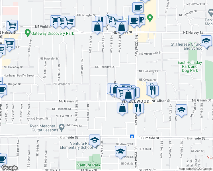 map of restaurants, bars, coffee shops, grocery stores, and more near 729 NE 117th Ave in Portland