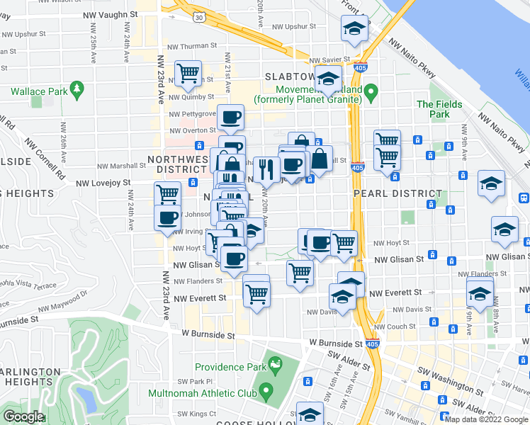 map of restaurants, bars, coffee shops, grocery stores, and more near Northwest Johnson Street & Northwest 20th Avenue in Portland