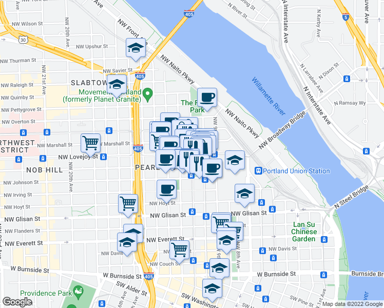 map of restaurants, bars, coffee shops, grocery stores, and more near NW Lovejoy St & NW 11th Ave in Portland