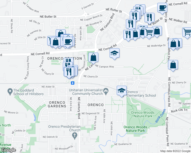 map of restaurants, bars, coffee shops, grocery stores, and more near 21856-21898 Northeast Cherry Drive in Hillsboro