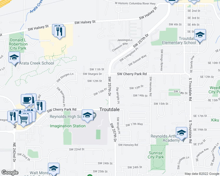 map of restaurants, bars, coffee shops, grocery stores, and more near 1227 Southwest Wright Place in Troutdale