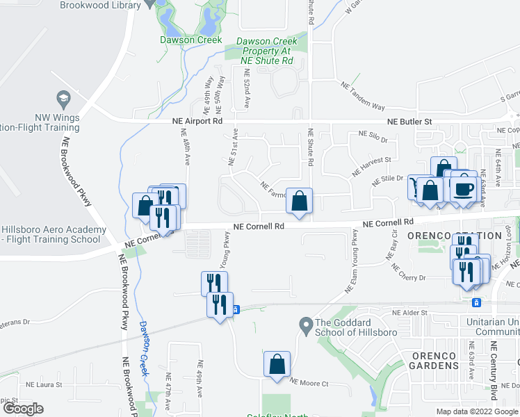 map of restaurants, bars, coffee shops, grocery stores, and more near 1221 Northeast 51st Avenue in Hillsboro