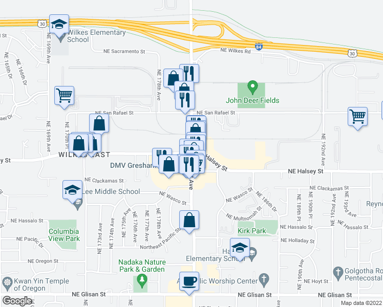map of restaurants, bars, coffee shops, grocery stores, and more near Northeast Halsey Street & Northeast 181st Avenue in Gresham