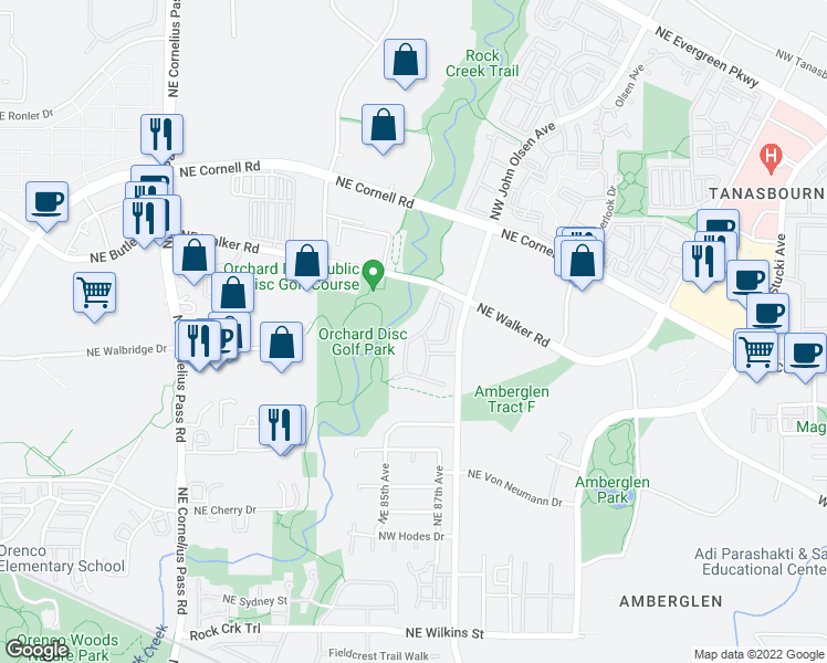 map of restaurants, bars, coffee shops, grocery stores, and more near 2209 Northwest Sheffield Avenue in Beaverton