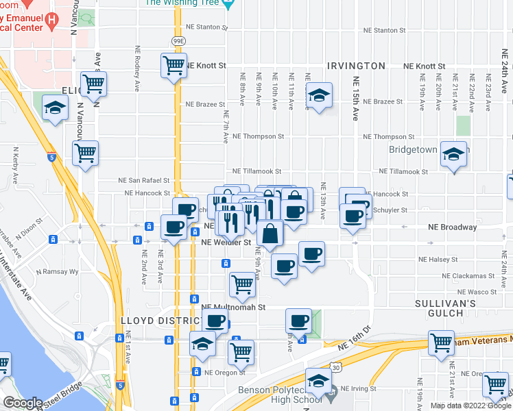 map of restaurants, bars, coffee shops, grocery stores, and more near 833 Northeast Schuyler Street in Portland