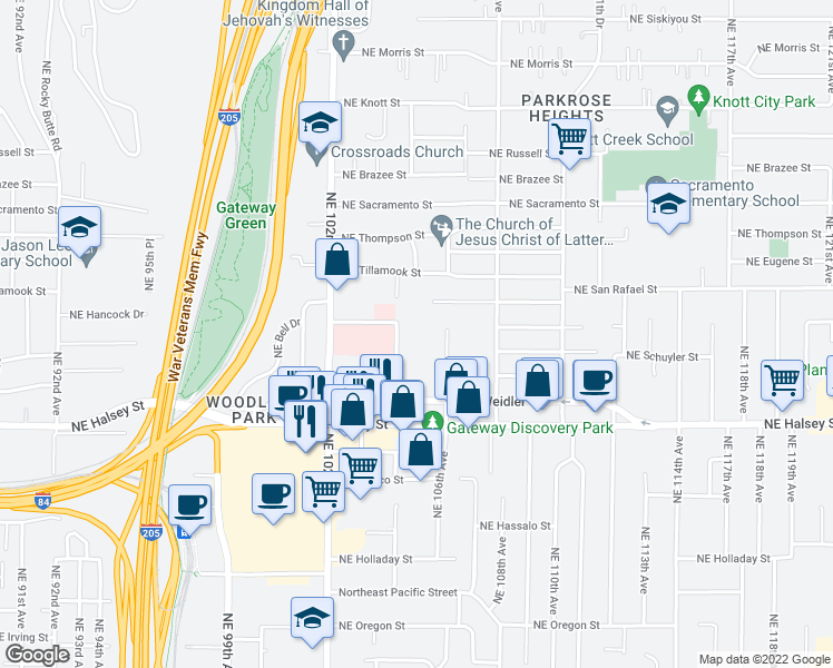 map of restaurants, bars, coffee shops, grocery stores, and more near 1820 Northeast 104th Avenue in Portland