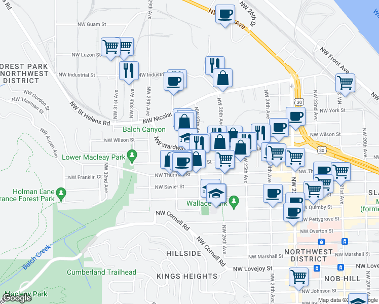map of restaurants, bars, coffee shops, grocery stores, and more near 2713-2731 Northwest Vaughn Street in Portland